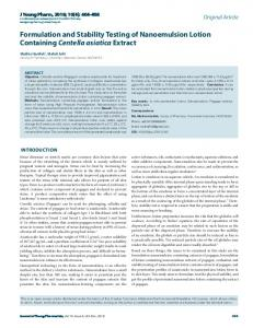 Formulation and Stability Testing of Nanoemulsion
