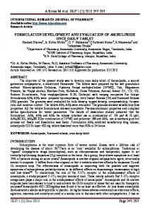 formulation development and evaluation of amisulpride once daily tablet