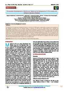 Formulation Development of Metformin Tablet and its ...