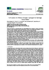 Formulation of Different Chitosan Hydrogels for Cartilage ... - aidic