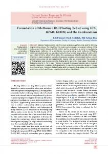 Formulation of Metformin HCl Floating Tablet using