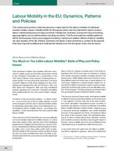 Forum: Labour Mobility in the EU: Dynamics, Patterns and Policies