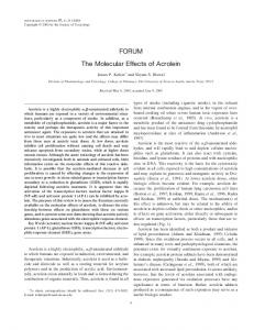 FORUM The Molecular Effects of Acrolein