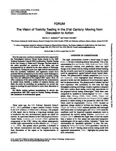FORUM The Vision of Toxicity Testing in the 21st ...