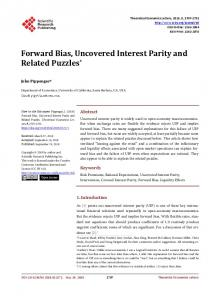 Forward Bias, Uncovered Interest Parity and Related