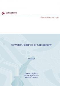 Forward Guidance or Cacophony - TCMB
