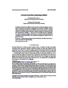 Forward induction reasoning revisited - Wiley Online Library