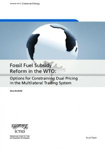 Fossil Fuel Subsidy Reform in the WTO