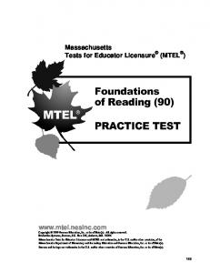 Foundations of Reading (90) Practice Test