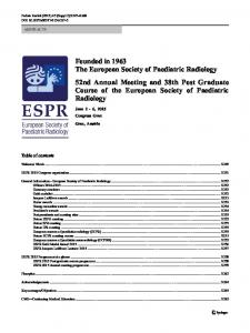 Founded in 1963 The European Society of Paediatric ... - Springer Link
