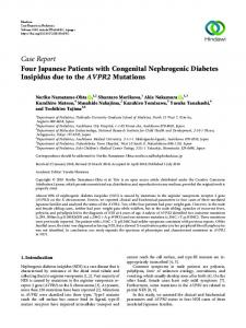 Four Japanese Patients with Congenital Nephrogenic Diabetes ...