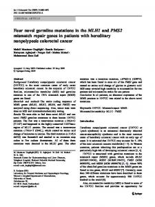 Four novel germline mutations in theMLH1andPMS2mismatch repair ...