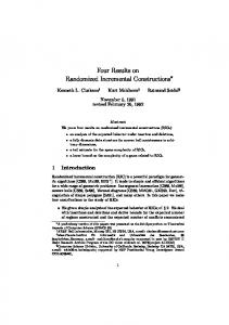 Four Results on Randomized Incremental ... - Semantic Scholar