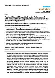 Fractional Factorial Design Study on the Performance of GAC ... - MDPI