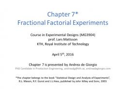 Fractional factorial experiments