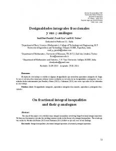 Fractional Integral Inequalities - Universidad Rafael Urdaneta