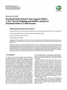 Fractional-Order Discrete-Time Laguerre Filters: A New Tool for ...