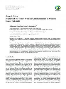Framework for Secure Wireless Communication in Wireless Sensor ...