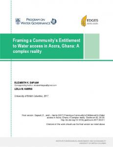 Framing a Community's Entitlement to Water access in Accra, Ghana ...
