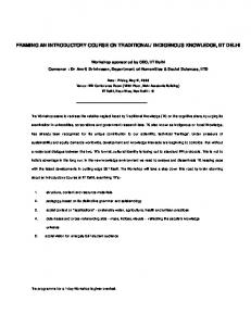 FRAMING AN INTRODUCTORY COURSE ON TRADITIONAL ...