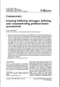 Framing lobbying messages: defining and communicating political ...