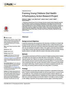 Framing Young Childrens Oral Health: A Participatory Action ... - PLOS