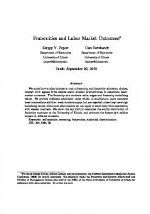 Fraternities and Labor Market Outcomes - Semantic Scholar