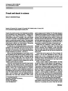 Fraud and deceit in science