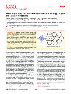 Free Charges Produced by Carrier Multiplication in Strongly Coupled ...