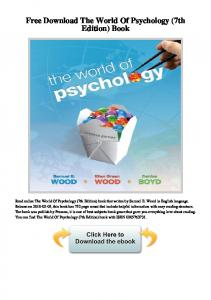 Free Download The World of Psychology (7th Edition) Book
