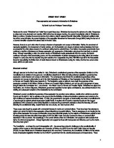 Free expression and access to information in Zimbabwe (PDF ...