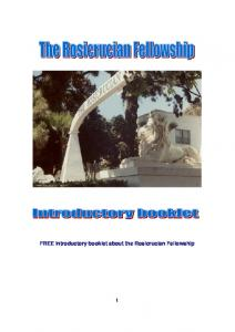 FREE introductory booklet about the Rosicrucian Fellowship