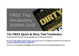 FREE Quick & Dirty Thai Vocabulary - A Woman Learning Thai ...