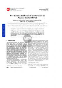 Free-Standing ZnO Nanorods and Nanowalls by Aqueous Solution ...