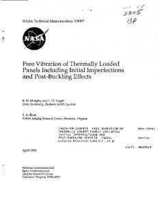 Free Vibration of Thermally Loaded Panels Including ... - NTRS - NASA