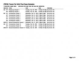 [FREN] French Fall 2013 Final Exam Schedule
