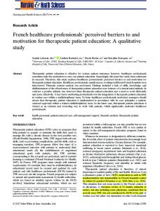 French healthcare professionals' perceived barriers to
