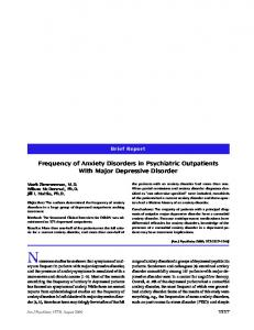 Frequency of Anxiety Disorders in Psychiatric Outpatients With Major ...