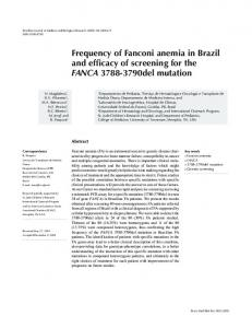 Frequency of Fanconi anemia in Brazil and efficacy of ... - SciELO