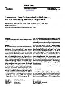 Frequency of Hypoferritinemia, Iron Deficiency and Iron Deficiency ...