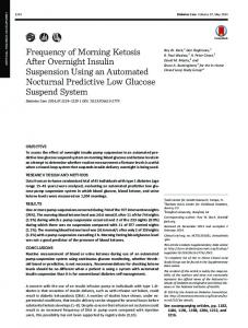 Frequency of Morning Ketosis After Overnight Insulin Suspension ...