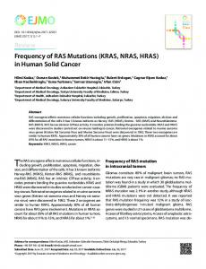 Frequency of RAS Mutations (KRAS, NRAS, HRAS) - JournalAgent