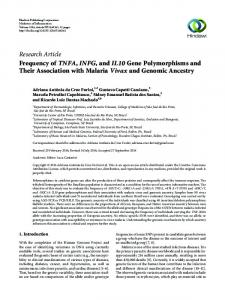 Frequency of TNFA, INFG, and IL10 Gene Polymorphisms and Their ...