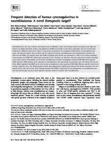 Frequent detection of human cytomegalovirus in neuroblastoma: A ...