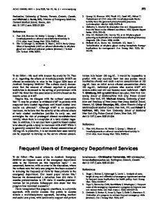 Frequent Users of Emergency Department Services