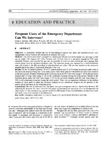 Frequent Users of the Emergency Department - Wiley Online Library