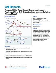 Frequent Zika Virus Sexual Transmission and Prolonged Viral RNA ...