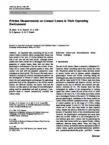 Friction Measurements on Contact Lenses in Their ... - Ottica Martini