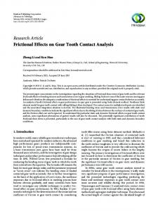 Frictional Effects on Gear Tooth Contact Analysis