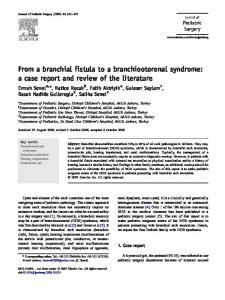 From a branchial fistula to a branchiootorenal syndrome - Journal of ...
